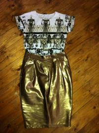 My metallic leather pencil skirt