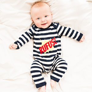 Personalised unisex from Not On The High Street! Stripes all the way!