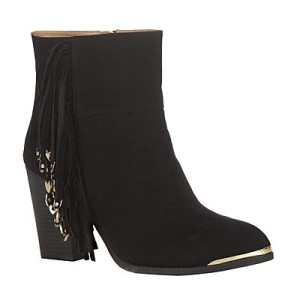 Suede tassel boot with metal tip