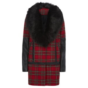 Tartan fur collar coat