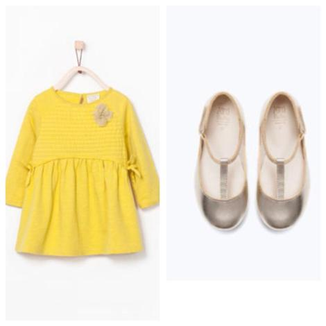 Yellow dress and metallic Mary-Janes - Zara