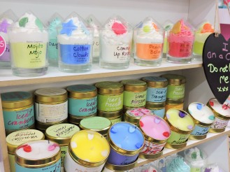 Colourful handmade candles 32 hours burn time - Bomb Cosmetics South St.